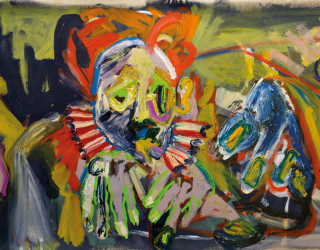 Jay Miriam, How on may feel at work (Clllic, clic, click clowns), 2012 68 x 168 cm, oil on canvas