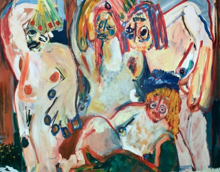 Jay Miriam, Two personalities and a secret lover, 2014, 182 x 182 cm, oil on linen