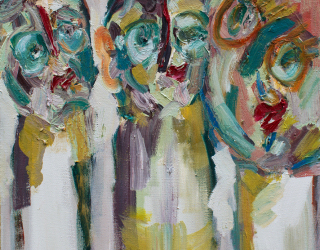 Jay Miriam, Three heads is better than none, 2014, 56 x 56 cm oil on linen