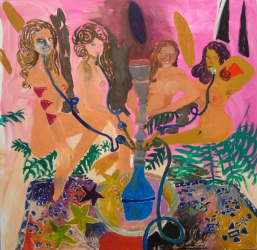 Tanja Ritterbex, Bitches get nasty on the hookah, 2015, 162 x 165 cm, oil on canvas