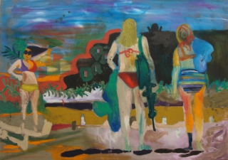Tanja Ritterbex, How to turn a sunburn into a tan, 2015, 120 x 170 cm, oil on linen