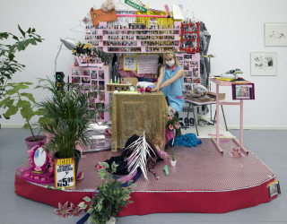 Nail art studio, Installation view Offspring show - Function creep at De Ateliers, Amsterdam, 2015, curated by Xander Karskens