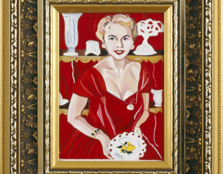 Marliz Frencken, Crop of woman in red with white porcelain, 1990 18 x 13 cm, oil on canvas