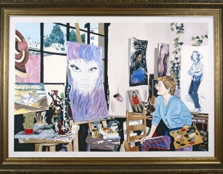 Marliz Frencken, Artist in her studio, 1990, 110 x 160 cm, oil on canvas