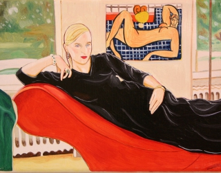 Marliz Frencken, Selfportrait lying on sofa with Matisse painting, 2003, 18 x 25 cm, oil on canvas