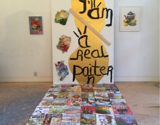 Marliz Frencken, I am real painter, 2015, Installation of magazines and paintings
