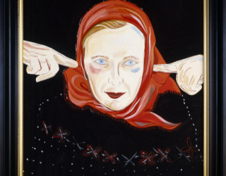 Marliz Frencken, Selfportrait with red scarf, 1993 65 x 45 cm, oil on canvas