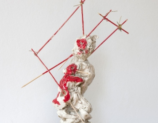 Marliz Frencken, Woman with child sting by skewers, 2011 60 cm, clay, wood and oil on resin