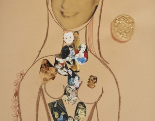 Marliz Frencken, Selfportrait, 2015 65 x 50 cm, collage, acryl and pencil on paper