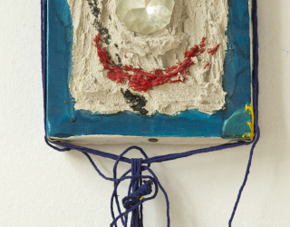 Marliz Frencken, Selfportrait, 1986 38 x 15 cm, mixed media on canvas with porcelain cup