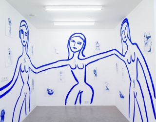 Walldrawing with small drawings on paper at Ornis A. Gallery, 2015