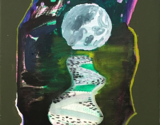 Shara Hughes, Big Moon, 2016, 35,6 x 27,9 cm, oil and flashe on canvas