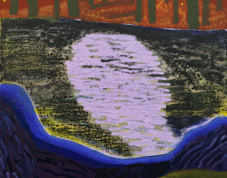 Shara Hughes, Moonlight, 2015, 53,3 x 53,3 cm, oil and flashe on canvas