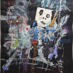 Thierry Oussou, What..?, 2016, 200 x 152 cm, mixed media on paper
