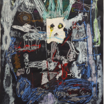 Thierry Oussou, When the queen is dancing, 2016, 200 x 152 cm, mixed media on paper