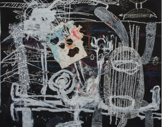 Thierry Oussou, Trace XVIII, 2015, 152 x 152 cm, mixed media on paper