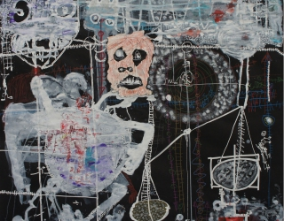 Thierry Oussou, Trace XIII, 2015, 152 x 152 cm, mixed media on paper