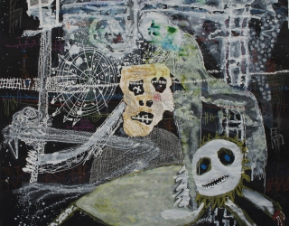 Thierry Oussou, Trace XVI, 2015, 152 x 152 cm, mixed media on paper