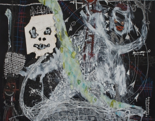 Thierry Oussou, Trace XIX, 2015, 152 x 152 cm, mixed media on paper