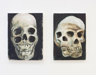 Evolution, 2016 (left) 40 x 27,7 cm, oil on panel The Drunk Archeologist, 2016 (right) 40 x 30 cm, acrylic on panel