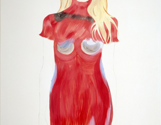 Untitled (woman in red, purple and blue dress), 1998, 200 x 140 cm, oil on canvas