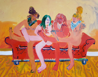 Tanja Ritterbex, Girls and me posing on a couch in Dusseldorf, 2017, 120 x 150 cm, oil on canvas