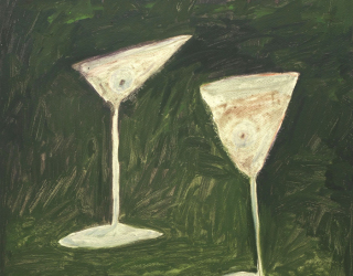 Tenki Hiramatsu, Cocktails for wars end, 2018, 50 x 42 cm, oil on gesso on paper in artist frame